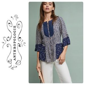 New Anthropologie Hiver Blouse by Maeve Navy Sz 10